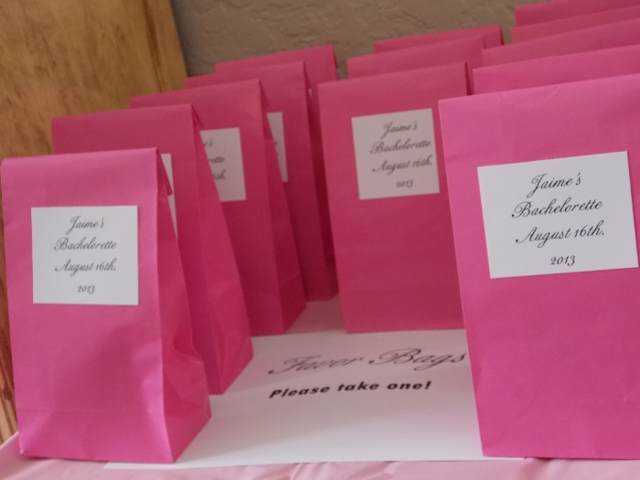 Favor Bags at The Bachelorette Party