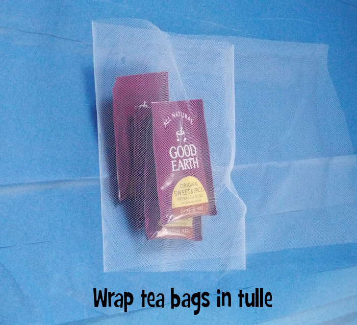 Step 1: Wrap Tea Bags in Tulle
