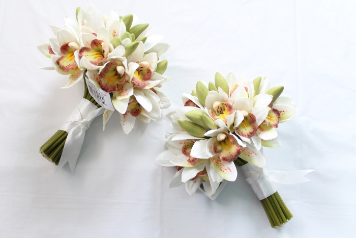 Mini Cymbidium Orchid Bridal Bouquet in White Green