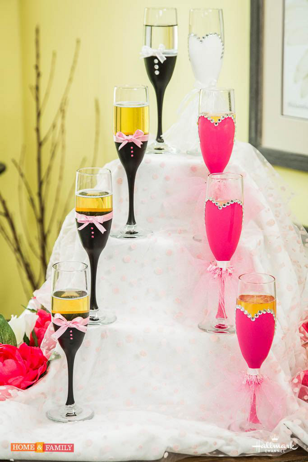 DIY Decorative Wedding Champagne Flutes